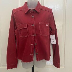 NEW wTag-RVCA Red Denim Button Jacket L